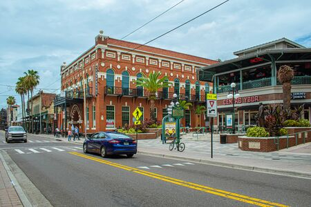 Tampa Bay, Florida. July 12, 2019 Panoramic view of Centro Espanol building on 7th Aveneu at Ybor City. Editorial