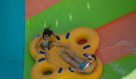 Orlando, Florida. July 28, 2019. People having fun Kare Kare curl at Aquatica 3 Editorial
