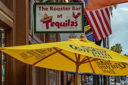 Tampa Bay, Florida. July 12, 2019 The Rooster Bar at Tequilas sign in Ybor City.