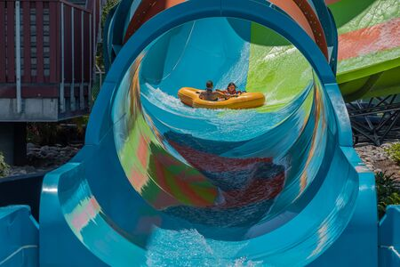 Orlando, Florida. July 28, 2019. People having fun Kare Kare curl at Aquatica 6