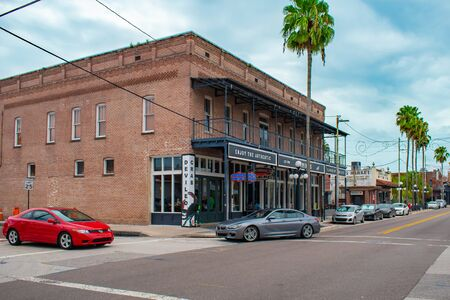 Tampa Bay, Florida. July 12, 2019 Vintage building on 7th Ave at Ybor City. Editorial