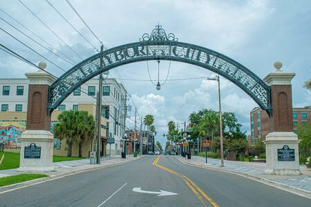 Tampa Bay, Florida. July 12, 2019 Ybor City arch on 7th Avenue in historic district 1 Editorial