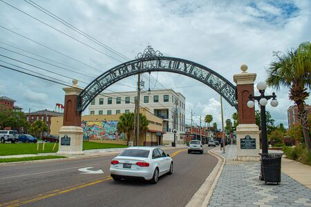 Tampa Bay, Florida. July 12, 2019 Ybor City arch on 7th Avenue in historic district 2