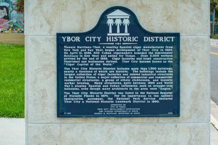 Tampa Bay, Florida. July 12, 2019 Ybor City Historic District sign at Ybor City.