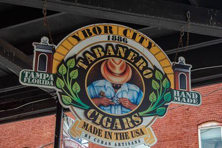 Tampa Bay, Florida. July 12, 2019 Ybor City Tabanero Cigars sign at historic district.