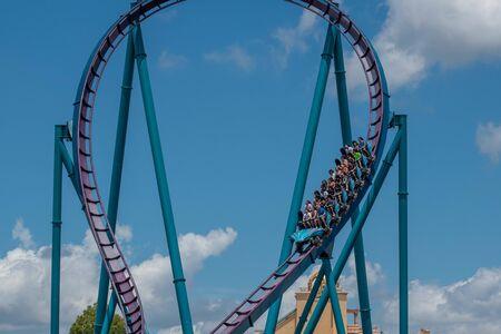Orlando, Florida . July 29, 2019. People enjoying riding Mako rollercoaster during summer vacation at Seaworld.