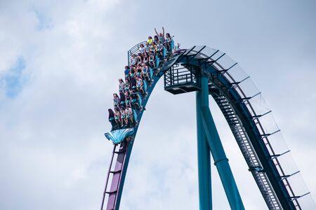 Orlando, Florida . July 29, 2019. People enjoying riding Mako rollercoaster during summer vacation at Seaworld