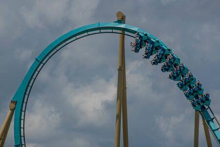 Orlando, Florida . July 29, 2019. People enjoying riding Kraken rollercoaster during summer vacation at Seaworld 5