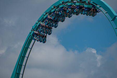 Orlando, Florida . July 29, 2019. People enjoying riding Kraken rollercoaster during summer vacation at Seaworld 6