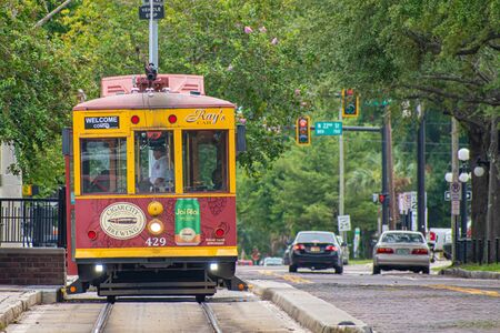 Tampa Bay, Florida. July 12, 2019. Colorful Streetcar on 8th Avenue in historic district 1