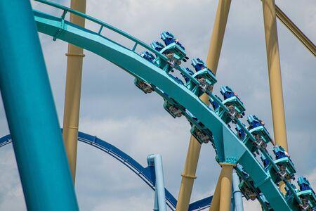 Orlando, Florida . July 29, 2019. People enjoying riding Kraken rollercoaster during summer vacation at Seaworld 8