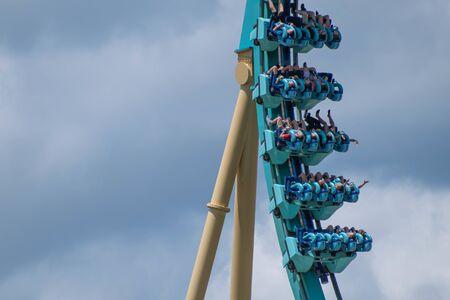 Orlando, Florida . July 29, 2019. People enjoying riding Kraken rollercoaster during summer vacation at Seaworld 13