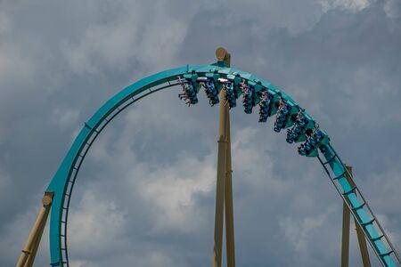 Orlando, Florida . July 29, 2019. People enjoying riding Kraken rollercoaster during summer vacation at Seaworld 16