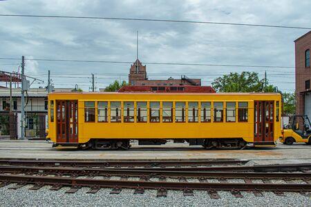 Tampa Bay, Florida. July 12, 2019 Colorful Street Car in Terminal at Ybor City area.