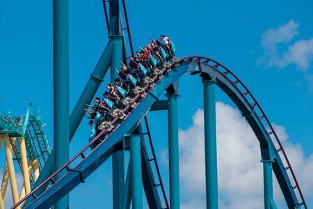 Orlando, Florida . July 29, 2019. People enjoying riding Mako rollercoaster during summer vacation at Seaworld 1