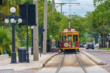 Tampa Bay, Florida. July 12, 2019 Colorful streetcar on 8th Ave at Ybor City 2