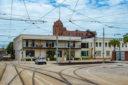 Tampa Bay, Florida. July 12, 2019 Crossroads of roads and vintage buildings at Ybor City. Editorial