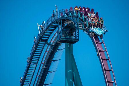 Orlando, Florida . July 29, 2019. People enjoying riding Mako rollercoaster during summer vacation at Seaworld 4 Editorial