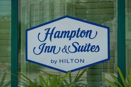 Tampa Bay, Florida. July 12, 2019 Hampton Inn and Suites sign at Ybor City. Editorial