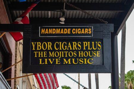 Tampa Bay, Florida. July 12, 2019 Handmade Cigars sign at Ybor City.