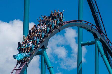 Orlando, Florida . July 29, 2019. People enjoying riding Mako rollercoaster during summer vacation at Seaworld 7