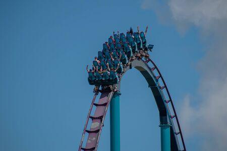 Orlando, Florida . July 29, 2019. People enjoying riding Mako rollercoaster during summer vacation at Seaworld 9