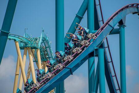 Orlando, Florida . July 29, 2019. People enjoying riding Mako rollercoaster during summer vacation at Seaworld 11