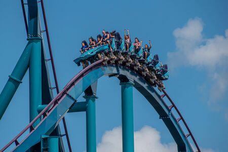 Orlando, Florida . July 29, 2019. People enjoying riding Mako rollercoaster during summer vacation at Seaworld 27