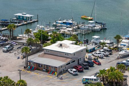 Ponce de Leon Inlet, Florida. July 19, 2019 Partial view of colorful boat and marina from lighthouse 4