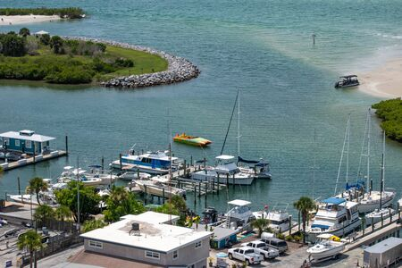 Ponce de Leon Inlet, Florida. July 19, 2019 Partial view of Marina from lighthouse.