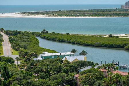 Ponce de Leon Inlet, Florida. July 19, 2019 Partial view of Leon Ponce inlet and Halifax river from lighthouse. Редакционное