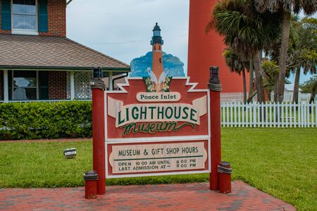 Ponce de Leon Inlet, Florida. July 19, 2019 Ponce Inlet lighthouse Museum sign 2