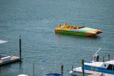 Ponce de Leon Inlet, Florida. July 19, 2019 View of colorful boat and marina from lighthouse.