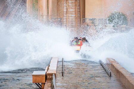 Orlando, Florida. July 25, 2019. People having fun Journey to Atlantis, with spectacular splashing at Seaworld 11