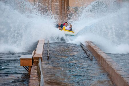 Orlando, Florida. July 25, 2019. People having fun Journey to Atlantis, with spectacular splashing at Seaworld 15