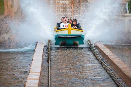 Orlando, Florida. July 25, 2019. People having fun Journey to Atlantis, with spectacular splashing at Seaworld 21
