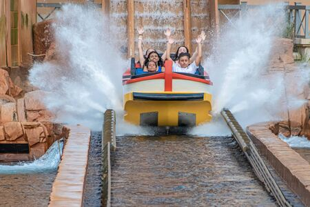 Orlando, Florida. July 25, 2019. People having fun Journey to Atlantis, with spectacular splashing at Seaworld 45