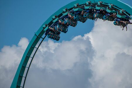 Orlando, Florida. July 29, 2019. People having amazing fun Mako rollercoaster at Seaworld 3 Editorial