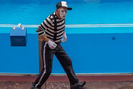 Orlando, Florida. July 26, 2019. Mime artist entertaining people in the minutes before the start of the Sea Lion High Show at Seaworld 1
