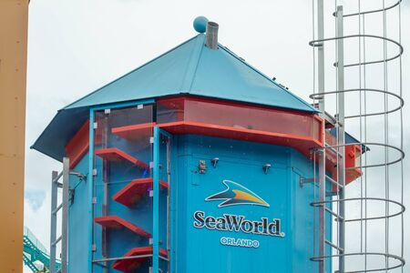 Orlando, Florida. July 26, 2019. Top view of Seaworld tower in Sea Lion High show at Seaworld. 報道画像