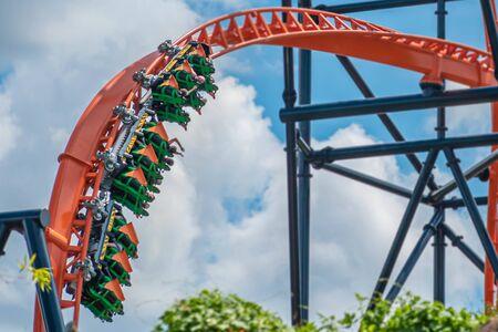 Tampa Bay, Florida. August 08, 2019. People enjoying amazing Tigris rollercoaster during summer vacation 25