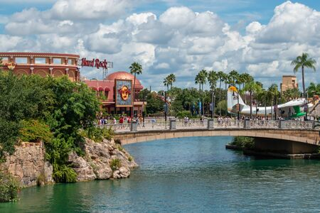 Orlando, Florida. August 07, 2019. Hard Rock Cafe and Margarita Ville plan on CityWalk at Universal Studios area.
