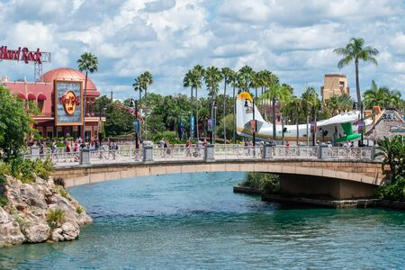 Orlando, Florida. August 07, 2019. Partial view of Hard Rock Cafe and CityWalk at Universal Studios area 1