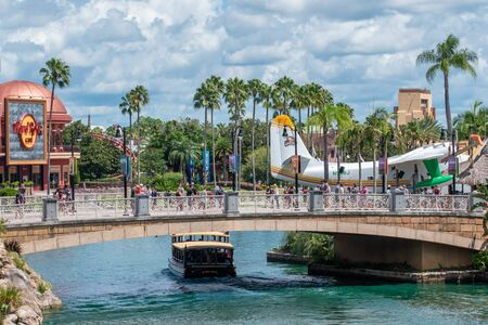 Orlando, Florida. August 07, 2019. Partial view of Hard Rock Cafe and CityWalk at Universal Studios area 2 Editorial