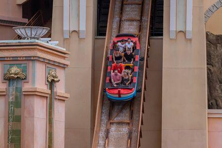 Orlando, Florida. September 30, 2019. People having fun Journey to Atlantis attraction at Seaworld 1