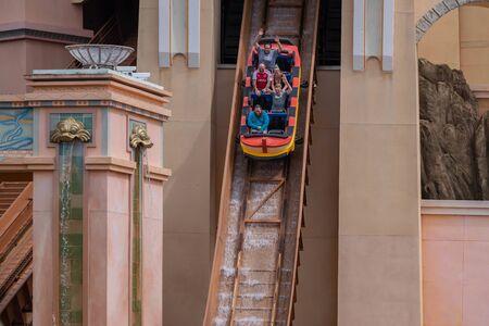 Orlando, Florida. September 30, 2019. People having fun Journey to Atlantis attraction at Seaworld 12