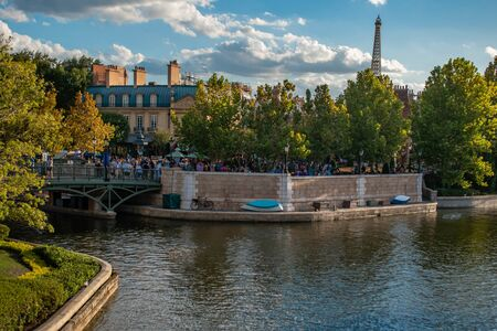Orlando, Florida. October 10, 2019. Panoramic view of people walking on France pavillion area at Epcot (47)
