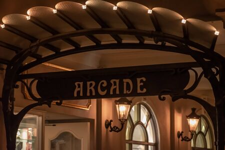 Orlando, Florida. October 10, 2019. Top view of Arcade sign in France pavillion at Epcot (41) Editorial