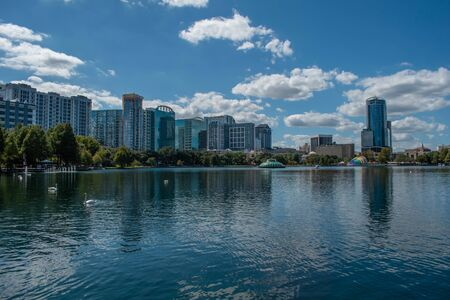 Orlando, Florida. October 12, 2019. Panoramic view of building in dockside of Lake Eola Park in downtown area 2