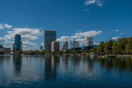 Orlando, Florida. October 12, 2019. Panoramic view of building in dockside of Lake Eola Park in downtown area 3
